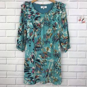 Tibi 100% Silk Ruffle Dress 4 Blue